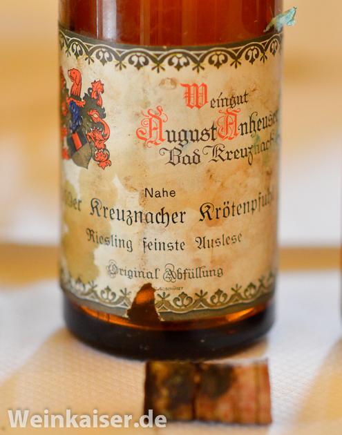 Weingut August Anheuser Kreuznacher Krötenpfuhl Riesling feinste Auslese 1959
