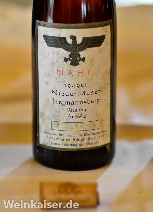 Staatliche Weinbaudomäne Niederhausen-Schloßböckelheim Niederhäuser Hermannshöhle Riesling Auslese 1949