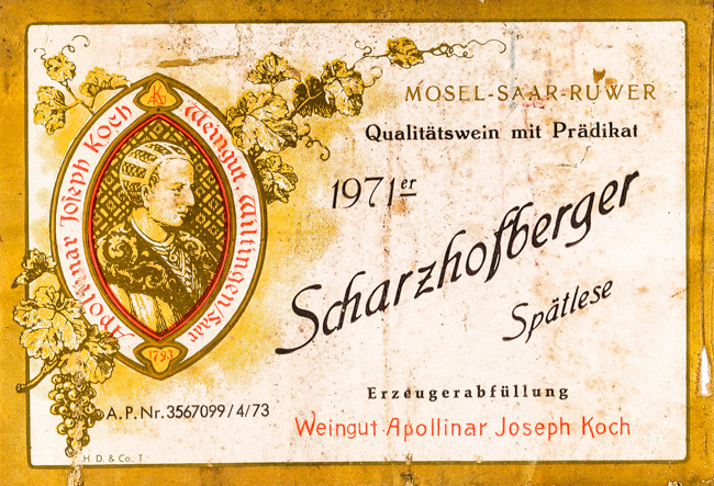 Apollinar Joseph Koch Scharzhofberger Spätlese 1971
