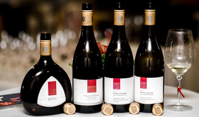 Highlight der Sozialen Verkostung zum Thema Gemischter Satz: Vier Jahrgänge Kapellenberg Gemischter Satz vom Weingut Bickel-Stumpf aus Franken