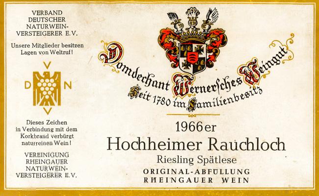 Domdechant Werner Hochheimer Rauchloch Riesling Spätlese 1966