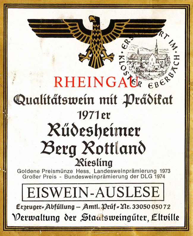 Kloster Ebersbach Rüdesheimer Berg Rottland Riesling Eiswein-Auslese 1971