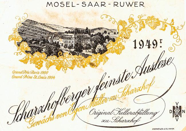 Egon Müller Scharzhofberger feinste Auslese 1949