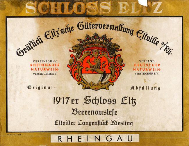 Schloss Eltz Eltviller Langenstück Riesling Beerenauslese 1917