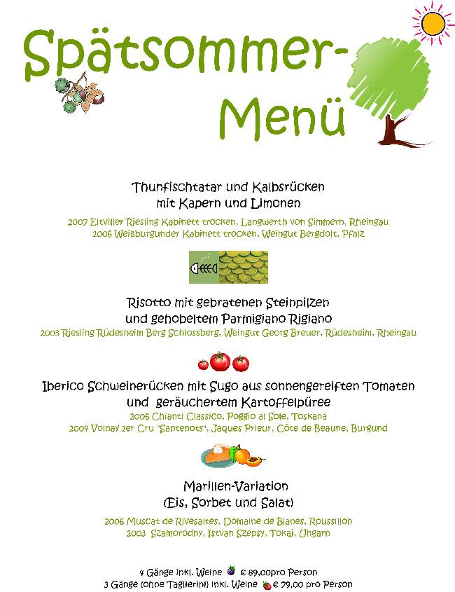 Fischers Wine & Dine Spätsommer Menü
