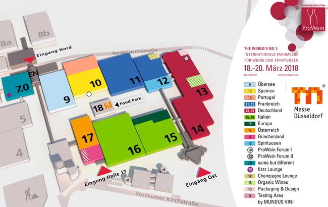 ProWein 2018 Hallenplan / Messeplan