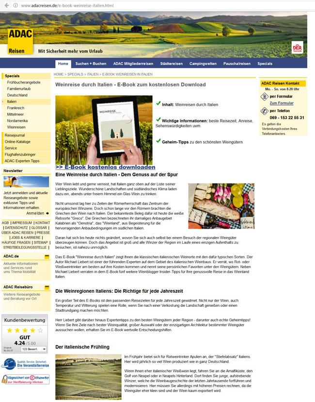 ADACReisen E-Book Weinreise durch Italien